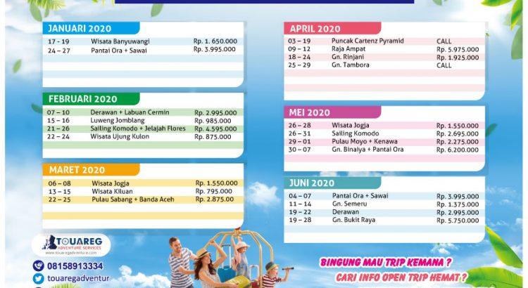 jadwal open trip 2020